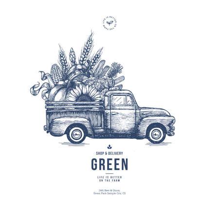 Modelo de design de entrega fresca de fazenda. Camionete vintage clássica com vegetais orgânicos. Ilustração vetorial