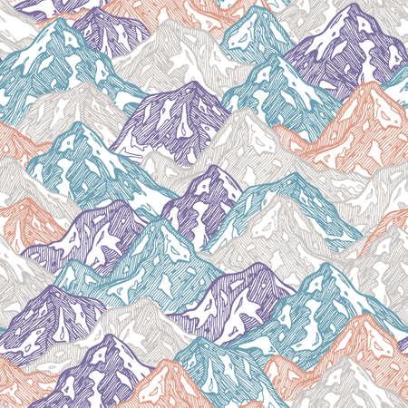 Mountains seamless pattern. Fun mountains kid illustration. Vector illustration