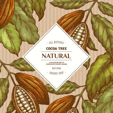 Cacaoboonboom rond ontwerpsjabloon. Gegraveerde stijlillustratie. Chocolade Cacaobonen. Vector illustratie
