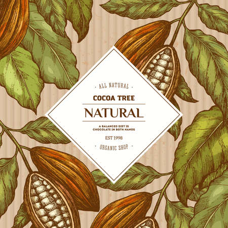 Cocoa bean tree round design template. Engraved style illustration. Chocolate cocoa beans. Vector illustration 向量圖像