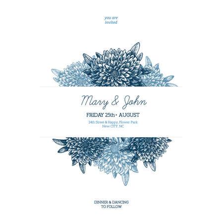 Floral wedding invitation. Chrysanthemum flower illustration. Vintage illustration of chrysanthemum. Vector illustration Vettoriali