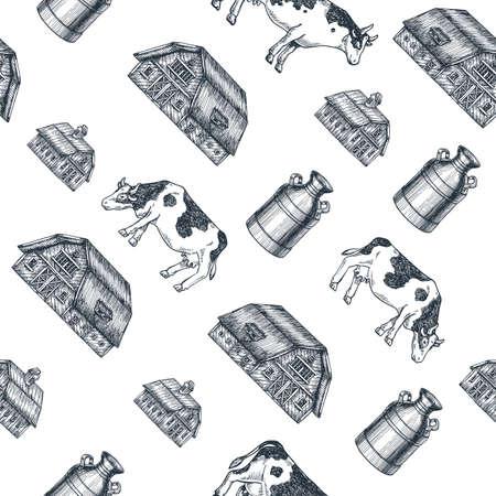 Modèle sans couture de ferme laitière. Vache, ferme, lait peut gravé illustration. Élevage Vintage. Illustration vectorielle Banque d'images - 91524936