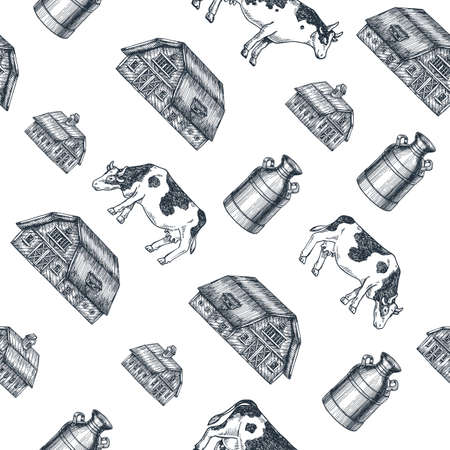 Milk farm seamless pattern. Cow, farm, milk can engraved illustration. Vintage husbandry. Vector illustration