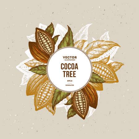 코코아 콩 나무 디자인 템플릿입니다. 새겨진 된 스타일 그림입니다. 초콜릿 코코아 콩. 벡터 일러스트 레이 션 일러스트