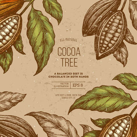 Cocoa bean tree frame design template. Engraved style illustration. Chocolate cocoa beans vector illustration. Vettoriali