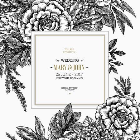 Floral wedding invitation. Vintage engraved flowers greeting card. Vector illustration.