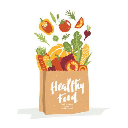Paper cut style vegetables in a paper shopping bag. Organic vegetables Vector illustration  イラスト・ベクター素材