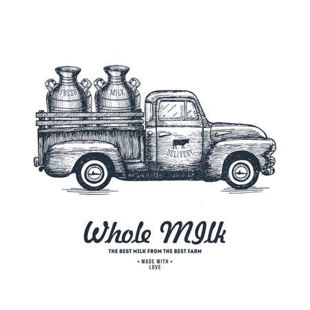 Milk farm delivery. Truck engraved illustration. Vintage husbandry. Vector illustration.
