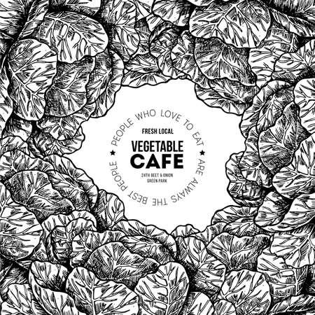 Fresh organic vegetables vintage engraved design template. Botanical cabbage illustration. Vector illustration Ilustração