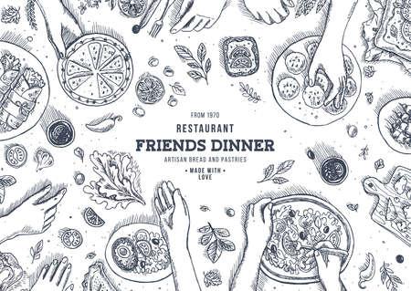Family dinner top view illustration. Dinner table background. Engraved style illustration. Hero image. Vector illustration