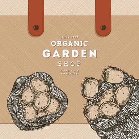Potato engraved farm design template. Bag of potatoes. Vector illustration