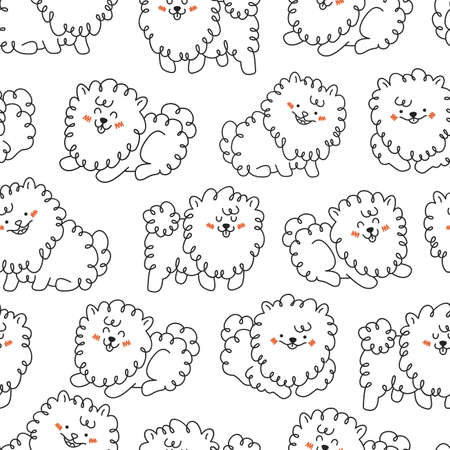 Cute dogs seamless pattern. Handsketched animals background.