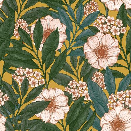 Retro motivo floreale senza soluzione di continuità. Sfondo giardino selvaggio. Design in tessuto vintage. Illustrazione vettoriale