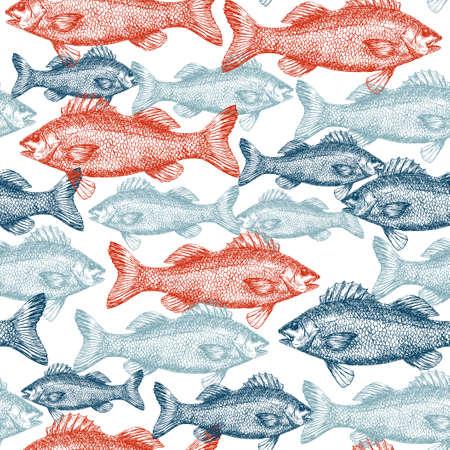 Fish Engraved Seamless Pattern 版權商用圖片 - 94535171