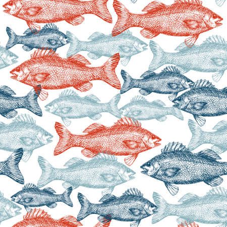 Fish Engraved Seamless Pattern