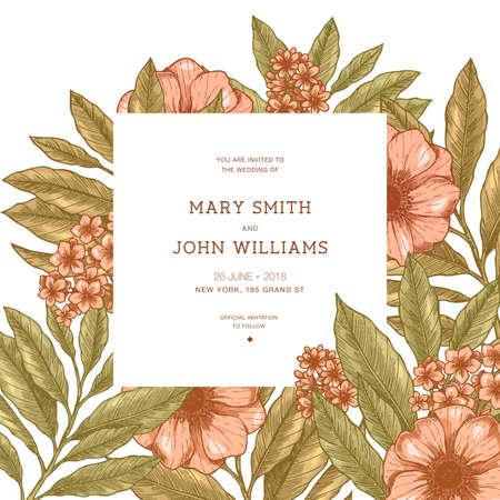 Retro floral wedding invitation. Anemone botanical vintage background. Vector illustration Stock Vector - 94672906