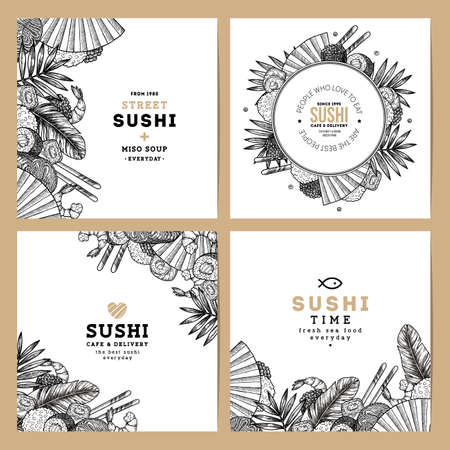 Sushi cafe and restaurant banner collection. Asian food background. Vector illustration Illustration