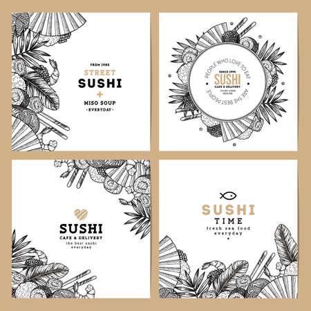 Sushi café en restaurant banner collectie. Aziatische voedselachtergrond. Vector illustratie Stock Illustratie