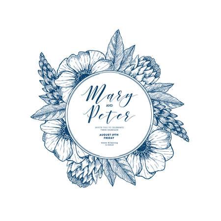 Bloemenhuwelijksuitnodiging. Vintage gegraveerde bloemen wenskaart. Vector illustratie