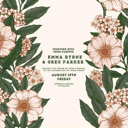 Floral retro wedding invitation. Anemone botanical vintage background. Vector illustration Ilustrace