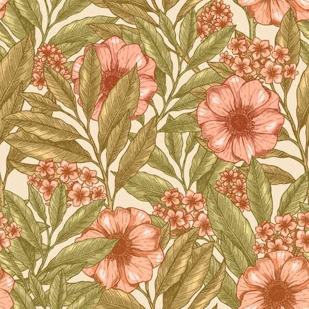 Vintage floral seamless pattern, wild garden background. Vintage fabric design vector illustration.