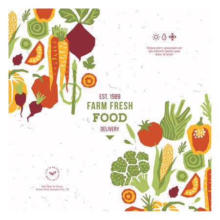 Papierschnittartgemüse-Designschablone. Bio-Gemüse-Vektor-Illustration. Standard-Bild - 95162261