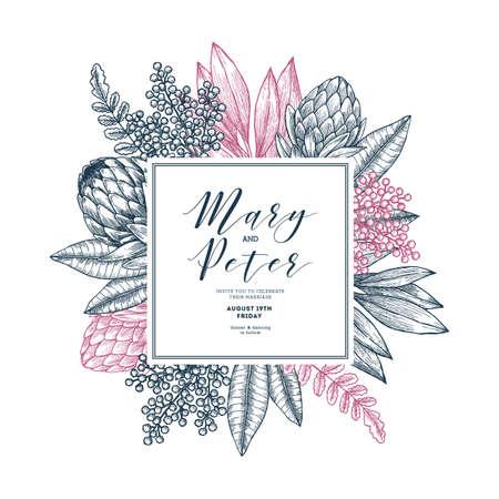 Wild flowers wedding invitation. Vintage floral design template. Vector illustration