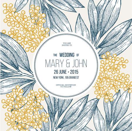 Mimosa flower wedding invitation. Vintage floral design template. Vector illustration.