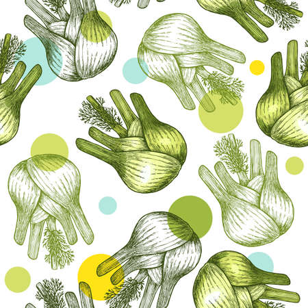 Fennel bulb seamless pattern. Botanical Fennel background.