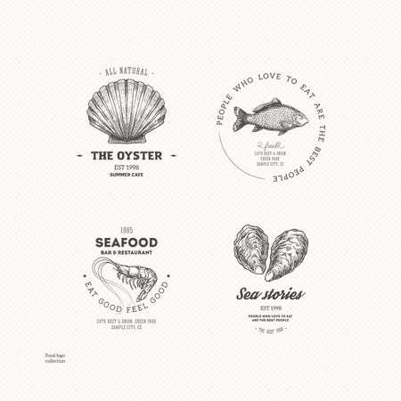 Vintage seafood logo collection. Engraved logo set. Vector illustration  イラスト・ベクター素材