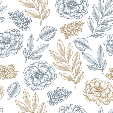 Floral seamless pattern in linear sketchy style  elements. Vintage fabric design Vector illustration