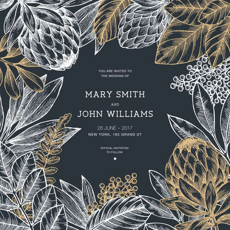 Floral wedding invitation. Vintage flower greeting card. Vector illustration