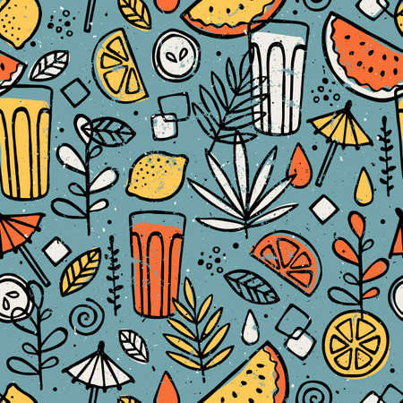 Fresh lemonade seamless pattern. Fun drinks background. Vector illustration.