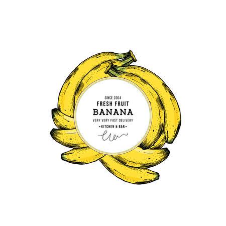 Banana round design template. Banana illustration. Vector illustration Ilustração