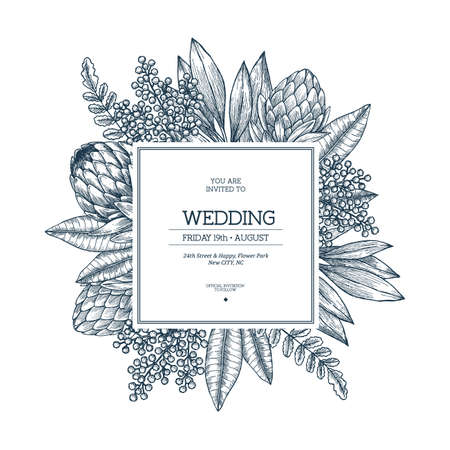 Wild flowers wedding invitation. Vintage floral design template. Vector illustration
