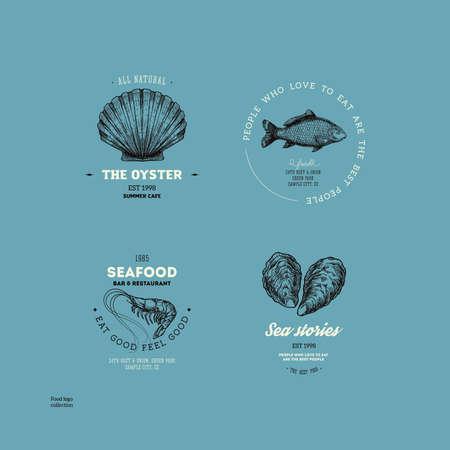 Vintage seafood logo collection. Engraved logo set. Vector illustration Иллюстрация