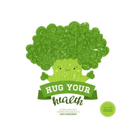 Healthy eating for kids. Broccoli design template. Vector illustration.