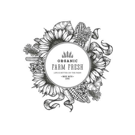 Sunflower vintage design template. Country style round composition. Vector illustration