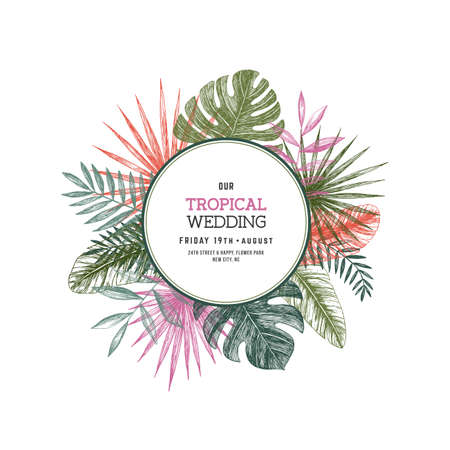 Tropical palm leaves. Jungle round wedding invitation. Design template. Vector illustration