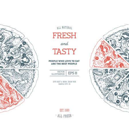 Pizza design template. Vector illustration