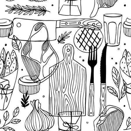 Seamless meat pattern. Meat restaurant pattern. Vector illustration
