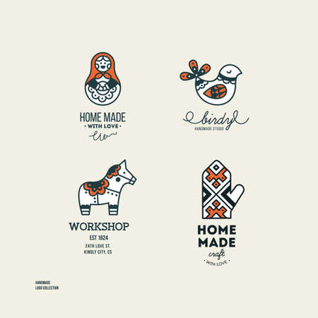 Handmade art and craft logotypes collection. Simple logo set. Vector illustration