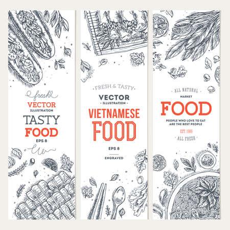 Kolekcja banerów wietnamskich żywności. Grafika liniowa. Ilustracja wektorowa