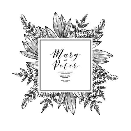 Wild leaves wedding invitation. Vintage floral design template. Vector illustration