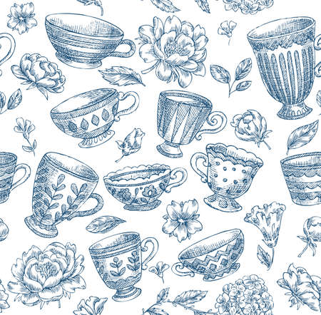 Vintage Engraved Cups and Flowers Seamless Pattern 스톡 콘텐츠