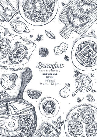 Vertical breakfast top view design template. Various food background, engraved style illustration. Hero image vector illustration.