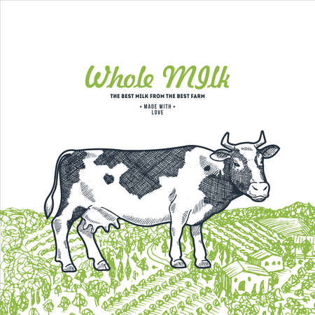 Cow on a green field.  Milk design template. Vector illustration
