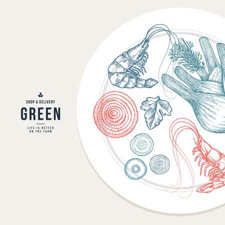 健康的な食品プレートのイラスト。減量設計テンプレート。ベクトル図  イラスト・ベクター素材