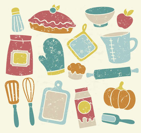 Retro Colored Baking Elements Illustration
