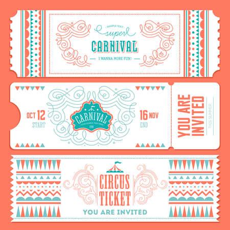 Vintage Circus banner collection. Ticket invitation. Vector illustration Illustration